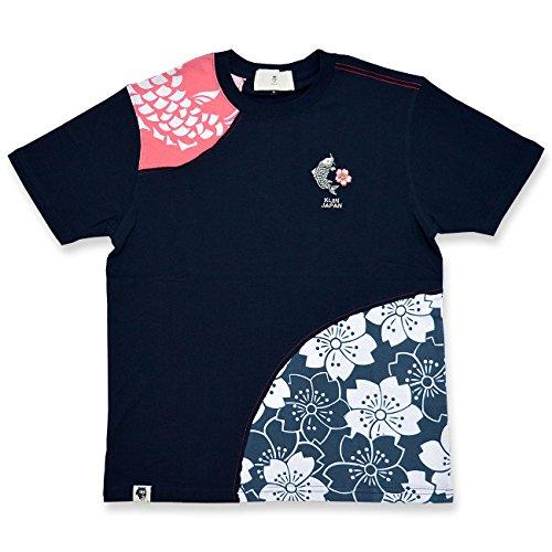 (キジン)喜人 鯉切替半袖Tシャツ 喜人 和柄 和風 コイ 桜 KJ-71012 ネイビー XXL
