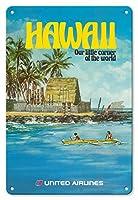 22cm x 30cmヴィンテージハワイアンティンサイン - ハワイ - ユナイテッド航空 - City of Refuge, ホナウナウ湾 - ビンテージな航空会社のポスター によって作成された ミカエル・ヘーゲル c.1970s