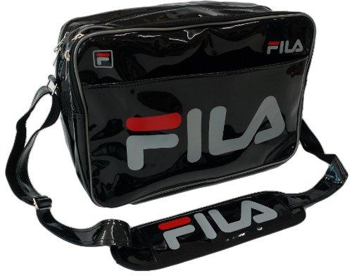 FILA フィラ エナメル スポーツ ショルダー バッグ (02 BLACK/GRAY)