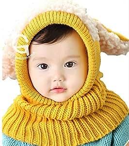 【On Dolce】選べる5色 うさぎちゃん風 ニット帽 ニット帽子 ベビー キッズ 赤ちゃん 子 子供 用 かわいい 防寒 BN005 (イエロー)