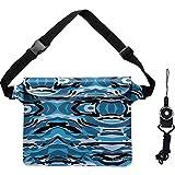 Danyee 防水ポーチ [一年間品質保証] 3重チャック PVC素材 (ブルー) 海水浴 プール 釣り バイク ウエストバッグ 防水パック 防水 携帯 (迷彩Blue XL26x21cm)