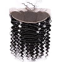 ウィッグ 女性用 深い波自由部分カーリーレース前頭閉鎖13×4ブラジルリアル人間の髪の毛の自然な色(8インチ - 20インチ) 良質 (色 : 黒, サイズ : 16 inch)