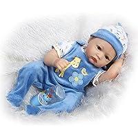 Lifelike人形RebornベビーソフトシリコンBoyモヘア青い目、22インチ