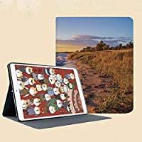 iPad Mini ①/②/③ ケース 超薄型 超軽量 TPU ソフト PUレザー スマートカバー 二つ折り スタンド スマートキーボード対応 キズ防止 サンディ穏やかなビーチオーシャンウェーブ静かな海岸夕日