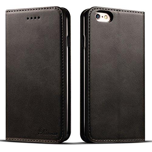 iphone6sケース 手帳型 iphone6ケース 手帳 Rssviss 耐衝撃 耐摩擦 高級PUレザー 財布型 アイフォン6sケース アイフォン 6s ケース 手帳 レザー アイフォン6ケース カバー カード収納 マグネット スタンド機能 人気 おしゃれ [iPhone 6 /iPhone 6s 4.7 inch 適応]-ブラック