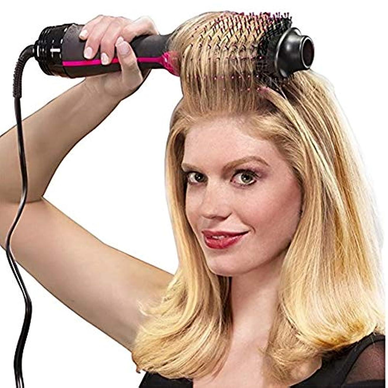 分散明らかにする散髪1000Wプロのヘアドライヤーブラシ2 in 1ヘアストレートナーカーラーコームコームヘアブローローラースタイラー付き電気ブロードライヤー