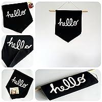 Weryn(TM)シンプルな黒のHello正方形のベッドルームの壁の旗バナーペナント生地北欧雑貨インウェディングパーティーの装飾ホオジロ