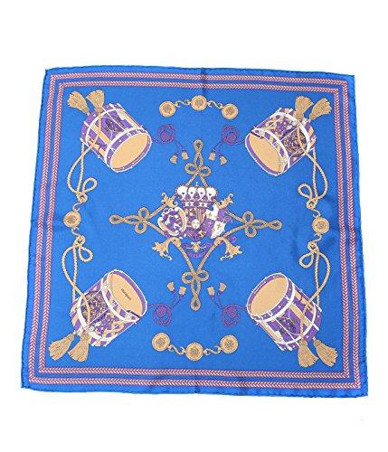 manipuri [マニプリ] / <Silk scarf(65cm×65cm)>-drum- (シルクスカーフ パッチワーク) フリーサイズ(ワンサイズ) ブルー/ベージュ