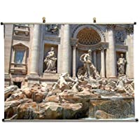 Trevi Fountain in Rome – キャンバス壁スクロールポスター24 x 16インチ