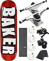 """ベイカースケートボードブランドロゴ箔スケートボード8"""" x 31.5"""" Complete Skateboard–7項目のバンドル"""