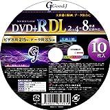 Good-J DVD+R DL 片面2層 8.5GB 2.4-8倍速 10枚スピンドル For Data&Video ホワイトプリンタブル(ワイド対応) GDL+8X10PW