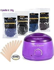 ビキニボディ脱毛キットをワックスがけ、500ミリリットル電気ワックスヒーター(紫)ハードワックス豆と10木製のへら、ワックス豆の100Gバッグの異なる味の4種類 (1)