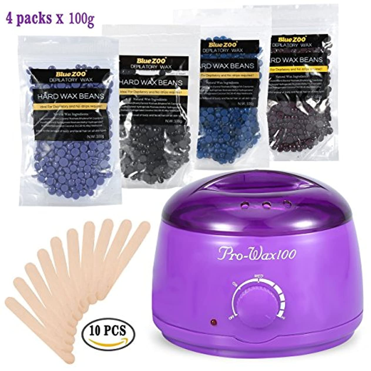 包囲ちらつきテンポビキニボディ脱毛キットをワックスがけ、500ミリリットル電気ワックスヒーター(紫)ハードワックス豆と10木製のへら、ワックス豆の100Gバッグの異なる味の4種類 (1)
