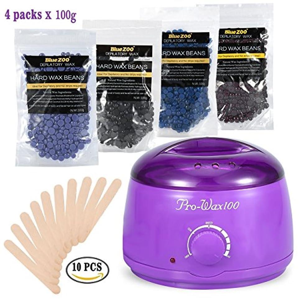 ピルエロチック連続したビキニボディ脱毛キットをワックスがけ、500ミリリットル電気ワックスヒーター(紫)ハードワックス豆と10木製のへら、ワックス豆の100Gバッグの異なる味の4種類 (1)