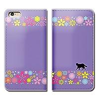 (ティアラ) Tiara iPhone 5c iphone5c スマホケース 手帳型 ベルトなし 猫 黒ネコ シルエット ねこ POP 手帳ケース カバー バンドなし マグネット式 バンドレス EB254020040903