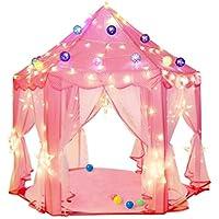 BeneBomoキッズテント 子供用テント Kids Tent 女の子テント ピカピカLED電球付き 子供おもちゃ 室内室外 知育玩具折りたたみ 玩具収納 秘密基地 おままごと