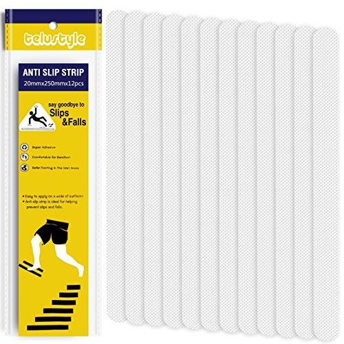 安全 滑り止めテープ 浴室スリップ防止テープ アンチスキッドテープ 浴槽 シャワー 階段 地面用 素足に優しいシャワー 階段 地面用 12本入り(ホワイト)