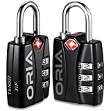 ORIA TSA Approved Luggage Lock, Travel Lock, 3 Digit Combination Lock, Padlock with Alert for Suitcases, Baggage, Backpacks, Small Cabinets, Computer Bags (Black, 2 Pack)
