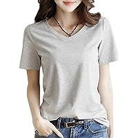 半袖 Tシャツ レディース トップス 無地 カットソー Vネック きれいめ シンプル 薄手 おしゃれ S~XL (黒・白…