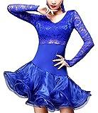 (オーセンティック) AUTHENTIC レディース ダンス ドレス レース タイト ゴージャス 長袖 ラテン 社交ダンス (XL, ブルー)