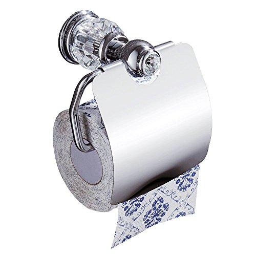 AUSWIND シルバークローム 光沢 トイレットペーパーホルダー 真鍮仕上げ クリアクリスタル&ガラスティッシュホルダー 壁掛け