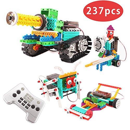 FlyCreat ブロックおもちゃ 積み木 4IN1変形ロボット 237ピース 電動おもちゃ タンク仕様 立体パズル 四轮駆动おもちゃ 電動組立てロボットキット ロボットカー ラジコンカー バトルタンク戦車 ミニ四駆 騎士 組み立て式 DIY 知育玩具 3Dモデル 科学のおもちゃ 男の子のおもちゃ バッテリーモーターが運営する リモートコントロール プラスチック製 安全 想像力育成自由研究 夏休み 電気工作 子供誕生日祝い プレゼント児童 ギフト カラフル