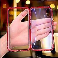 Iphone 7 / 8Plus / 7/8 / X/XS/XRケース、背面ガラス保護カバー透明磁気耐衝撃カバー、iphone XSMax用,赤,7plus/8plus