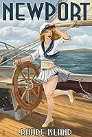 ニューポート、ロードアイランド州–Pinup Girl Sailing 12 x 18 Art Print LANT-42733-12x18