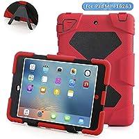 iPad Miniケース, Aceguarder DesignNew製品iPad mini 1& 2& 3ケース[ショック、] [防水] [ Dirtproof ] [耐衝撃]カバーケースwithスタンドスーパー保護キッズExtreme Dutyデュアル保護バックカバーケースカラビナ+ホイッスル+手書きタッチペン(レッドブラック)