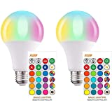 LED RGB Color Changing Light Bulbs with Remote, 6000K Dimmable E26 Screw Base, 85 Watt Equivalent Soft Warm White for Home De