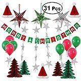 bestoyard Merry Christmasバナーガーランドティッシュペーパーポンポン付きタッセルホーム祭用デコレーション31pcs