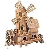 立体パズル 木製 3Dパズル 知恵玩具 積み木 クラフト DIY組立 レーザーカット 男の子 女の子 おもちゃ オランダ風車 79ピース (風車)