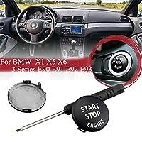 車の START STOP ボタン カバー スタートストップ エンジン ボタン スイッチカバー For BMW X5 E70 X6 E71 E90 E91 インストール工具つき (ブラック)