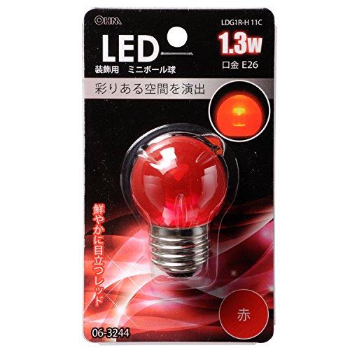 LED電球 ボール電球形 E26 赤 1.3W 61mm_LDG1R-H 11C 06-3244