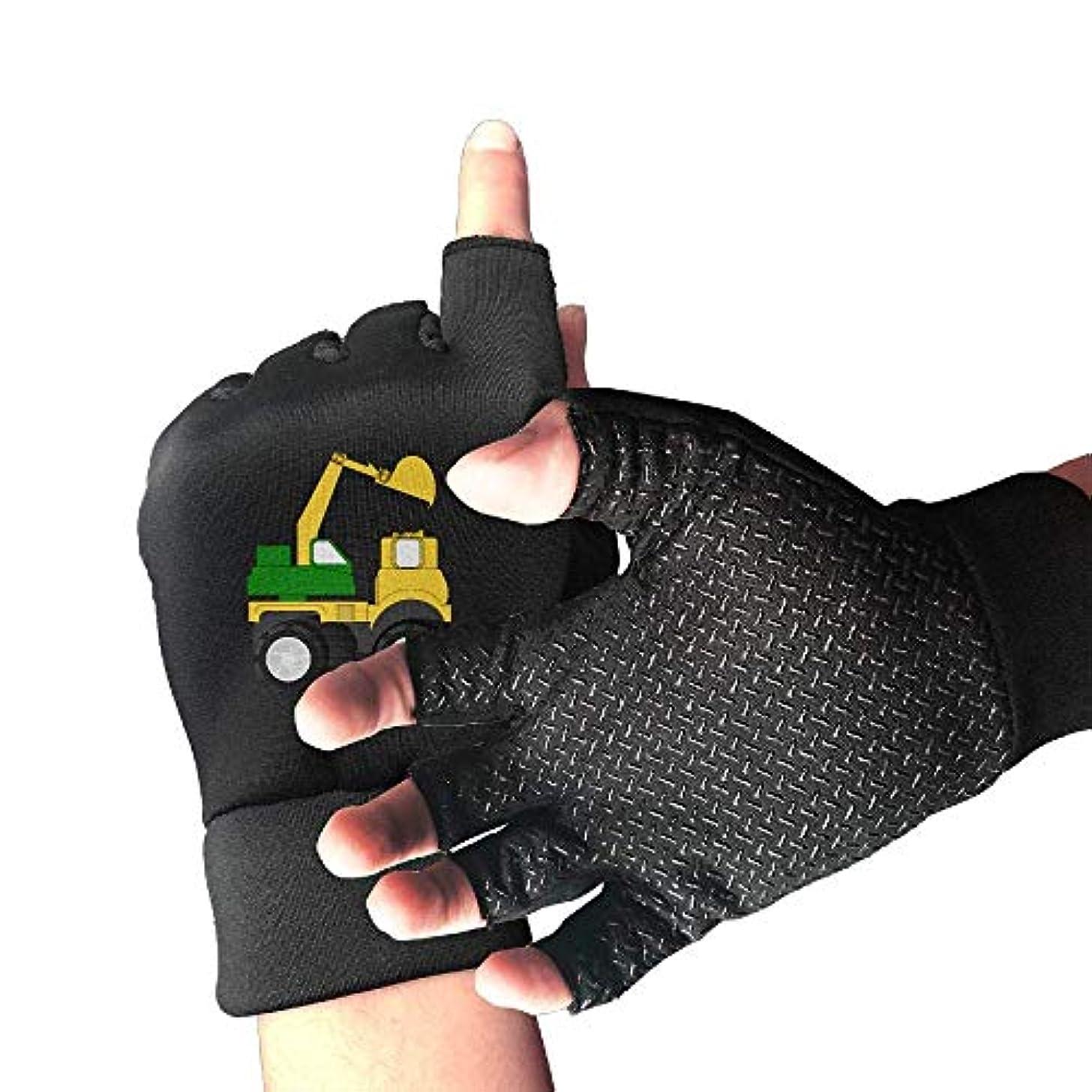 小包広大なキャラバンCycling Gloves Excavator Cartoon Men's/Women's Mountain Bike Gloves Half Finger Anti-Slip Motorcycle Gloves