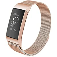 Interesting Stainless Steel Watch Band, Metal Replacement Bracelet Strap Compatible with Fitbit Charge 3 (Rose Gold, Size S)