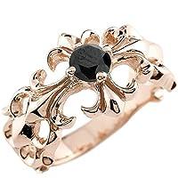 [アトラス] Atrus メンズ ユリの紋章柄 クロス 十字架 ピンクゴールド 18金 指輪 リング ブラックダイヤモンド 8号