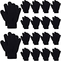 Cooraby 18 Pairs Kids Magic Gloves Winter Warm Knit Gloves Children Full Fingers Gloves