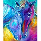 DIY 5D Diamond Painting Kits Full Drill Crystals Diamond Embroidery Rhinestone Painting Pasted Paint by Number Kits Stitch Craft Kit Home Decor - Horses 12x16 inch
