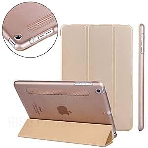 【RISE】iPad mini Retina/iPad mini2/iPad mini3 ケース カバー オートスリープ対応 クリア ケース PUレザー スマートカバー スリムカバー スタンド機能付 放熱加工 超薄 最軽量 iPad mini Retina/iPad mini 2/iPad mini 3 兼用一体型スマートカバー シャンパンゴールド