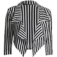 Islander Fashions Womens Black and White Stripe Celeb Style Waterfall Cropped Blazer Ladies Fancy Party Wear Coat S/XXL