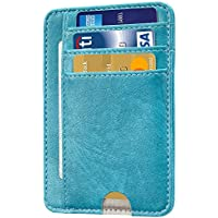 HOTCOOL Front Pocket Minimalist Leather With RFID Blocking Card Holder Wallet for Men & Women