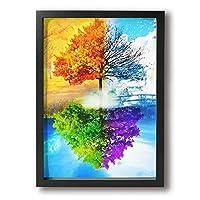 虹の木 フォトフレーム アートポスター 壁絵 現代壁の絵 ポスター インテリアアート 部屋飾り ウォールアート アートフレーム 贈り物 額縁付き
