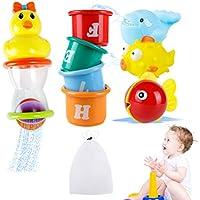 Safe&Care お風呂用おもちゃバストイ 水遊び 海洋動物おもちゃ 大人気のおもちゃ 8点セット 収納ネット付