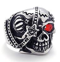 PW 高品質チタン&ステンレス 髑髏スカル指輪 21350 シルバー(銀色) 【ラッピング対応】