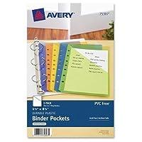 "75307 Avery Mini Binder Pocket - 20 Sheet Capacity5.50"" x 8.50"" - Rectangular - Polypropylene - 5 / Pack - Assorted, Green, Orange, Yellow, Purple [並行輸入品]"