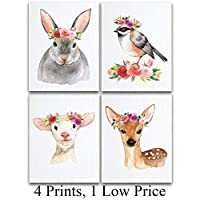 Watercolor Country Animals Nursery Art Prints - Set of Four Photos (11x14) Unframed - Great Gift for Nursery Decor [並行輸入品]