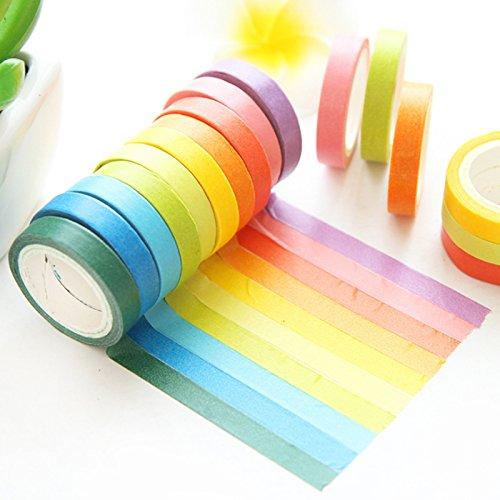 和紙テープ 手帳 アルバム スクラップブッキング DIY カラフル ギフト 虹色 多色 手帳テープ 10巻x5M