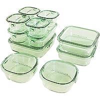 iwaki(イワキ) 耐熱ガラス 保存容器 デラックスセット パック&レンジ グリーン PS-PRN-11G 11点セット