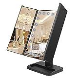 WYAO 鏡 卓上 三面鏡 LED 化粧鏡 折りたたみ式 拡大鏡付き ブラック (24LED)